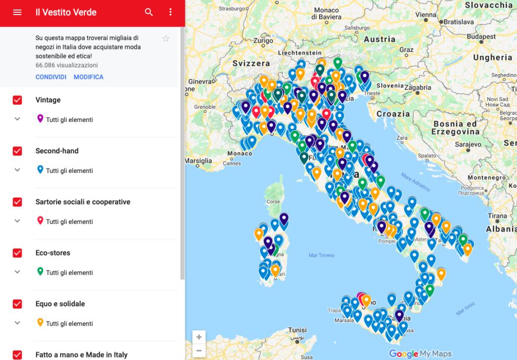 mappa moda sostenibile italia
