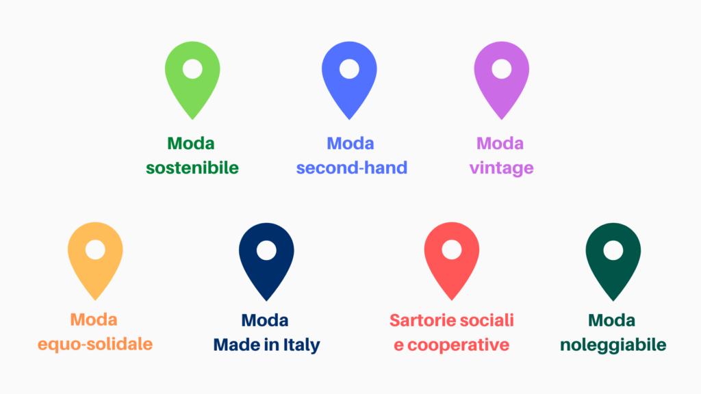 mappa moda sostenibile vestito verde