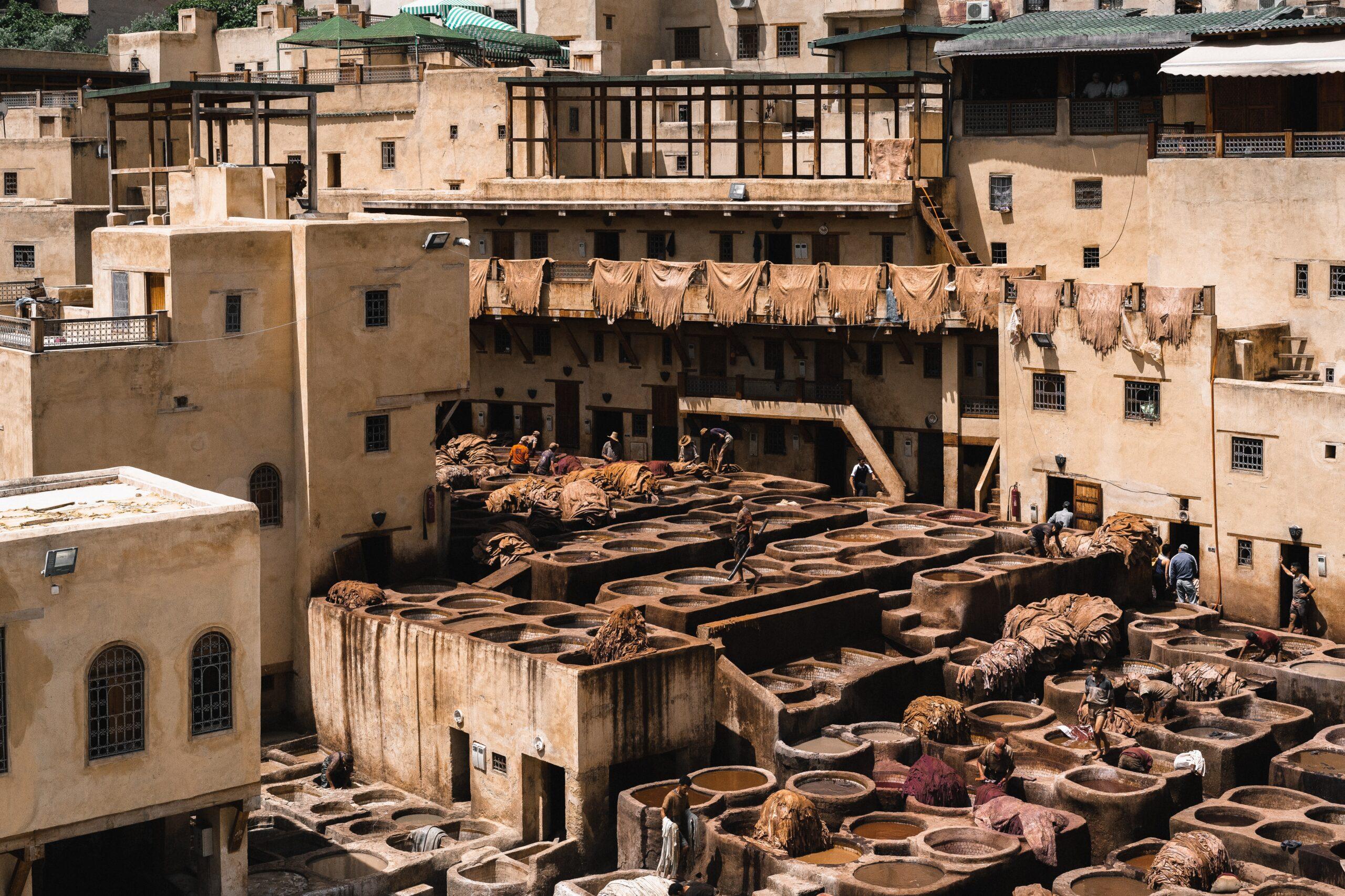 Concia delle pelli a Marrakech, Marocco